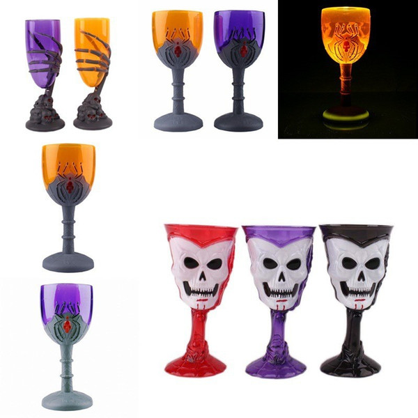 Luminous Plastic Wine Glasses For Halloween Party Decor Goblet Ghost Claw Spider Skull Head Design LED Light Cup Novelty 5mx BB