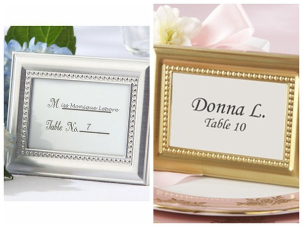 (20Pc/lot) Wedding Decoration craft of Silver and Gold Photo Frame Also as Place card Holder For Party Favors and Guest Gifts