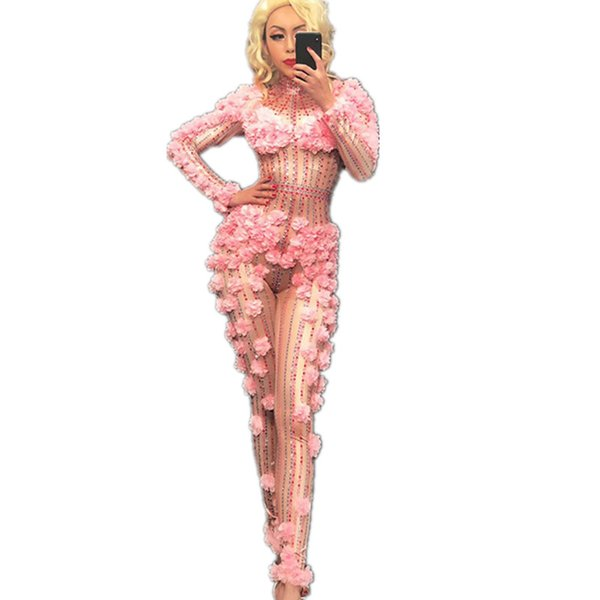 Sexy Dj Pink Flower Crystals Bodysuit Costume One -Piece Evening Jumpsuit Celebrate Party Wear Singer Stage Performance Clothing