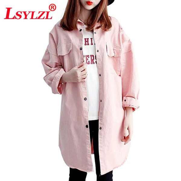 Women`s Denim Coat Long Boyfriend High Street Designer Style Candy Color Ripped Holes Jeans Jacket For Lady Girls B266