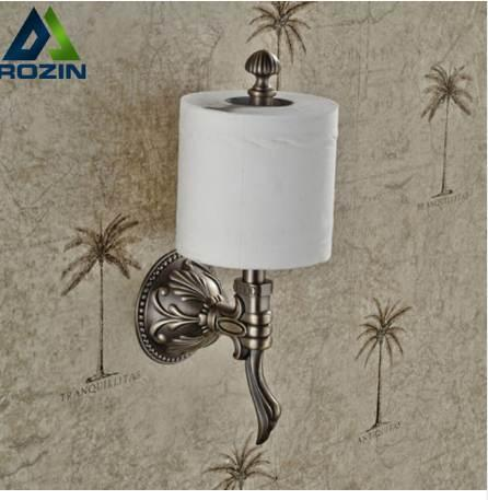 Luxury Creative Wall Mount Upright Roll Toilet Paper Holder Antique Brass Finished Bathroom Toilet Roll Paper Rod