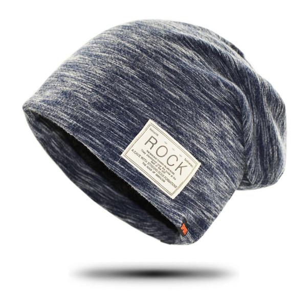 Winter Hat Beanie for Men Hip hop Skullies Beanies Rock Logo Casual Cap Turban Hat for Women Bonnet With Velvet