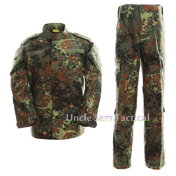 German Camo Army Uniform Camouflage Suit Paintball Clothing Combat Pants + Tactical Shirt