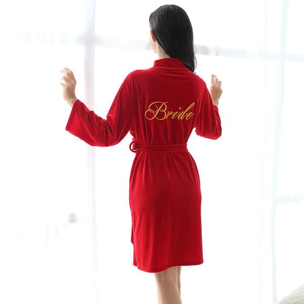 Stickerei-Logo Herbst-Winter-Samt-Roben, die Pyjamas-Robe personalisiert Hochzeit Braut Brautjungfer Geschenk