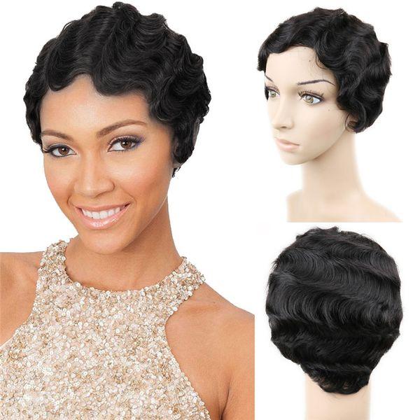 Brazilian Remy Hair Short Wavy Fringer Wave Wigs For Black Women 100% Human Hair Wigs Mommy Hair Wigs