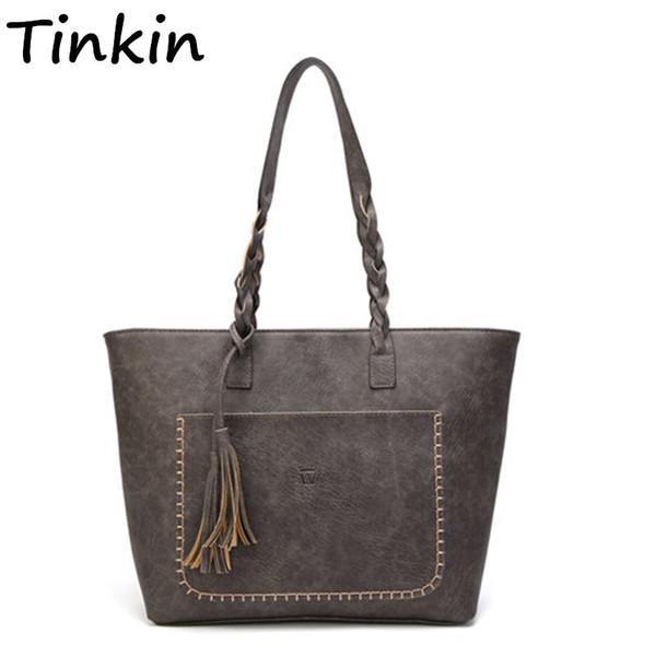 Tinkin Vintage PU Quaste Frauen Umhängetasche Weibliche Retro Täglichen Kausalen Totes Dame Elegante Einkaufstasche
