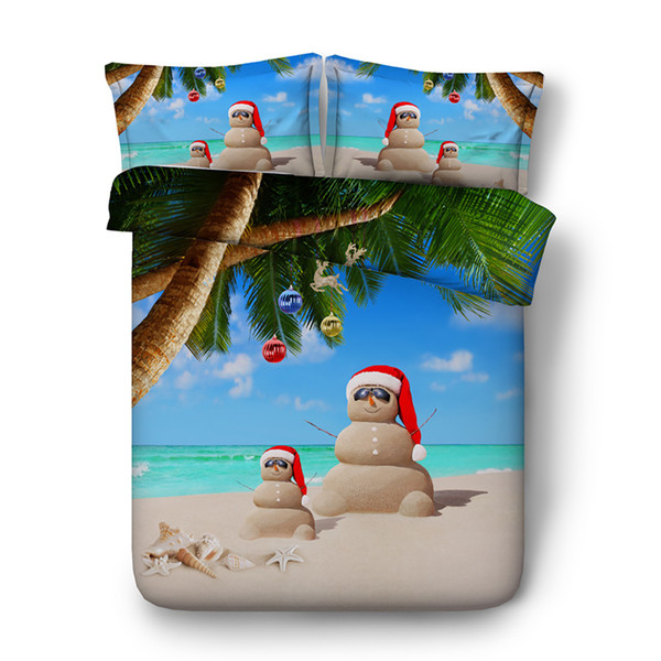 3D Christmas Duvet Cover Animal Bedding Sets Dog Cat Bedspreads Holiday Quilt Covers Bed Linen Pillow Covers Elk Snowman Beach Theme queen