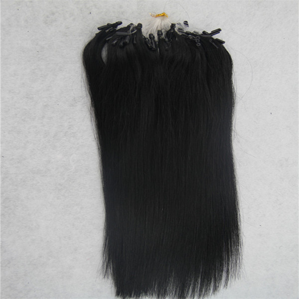 Jet black Straight Micro Loop Ring Hair Extension 100G Remy Micro Bead Hair Extensions 1g/strand Micro Link Human Hair Extensions