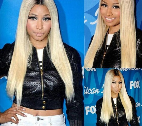 100% Human Hair Full Lace Blonde Wig Ombre Color 1B 613 Two Tone Silky Straight Front Lace Wigs Dark Root With Baby Hair