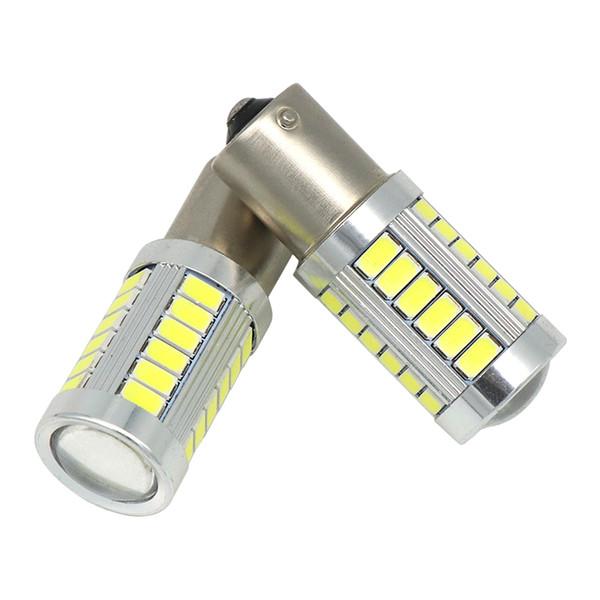 2 PCS LED BA15S P21W 1156 DRL Lumière de jour Blanco Blanc Ampoule 33-SMD 5630 5730 12V Lumières externes de voiture Ampoule de queue feux de freinage auto inverse