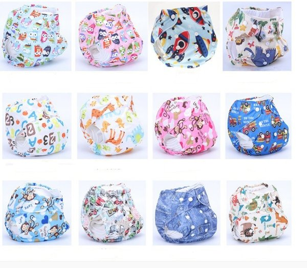 Baby Adjustable waterproof Diaper Baby Reusable Nappy Pants Infant Baby Boy Girl Swimming Diapers Printed cloth diapers lots design mixed