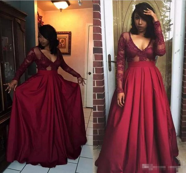 Hot Burgundy Prom Dresses 2018 Sheer Vintage Long Sleeves A Line Deep V Neck Lace Satin Formal Evening Party Dresses Pageant Gowns Arabic