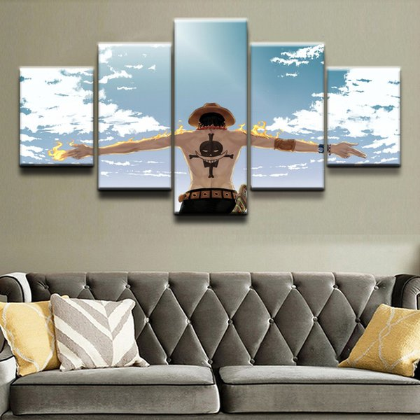 Home Wall Art Canvas Prints Posters 5 Pieces Anime One Piece Cloud Fire Paintings Living Room Decorative Framework Pictures Y18102209