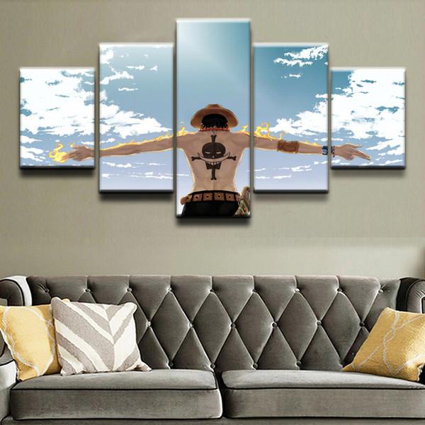Startseite Wandkunst Leinwanddrucke Poster 5 Stück Anime One Piece Cloud Feuer Gemälde Wohnzimmer Dekorative Rahmen Bilder Y18102209