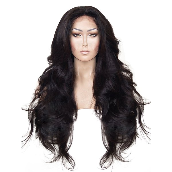 High Temperature Fiber Hair Natural Hairline Glueless Long Body Wave 1B Black Synthetic Lace Front Wig with Middle Part