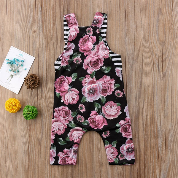 top popular Summer Baby Girl Peony Flower Jumpsuit Sleeveless Floral Romper Onesies Baby Outfit Bodysuit Sunsuit Kid Clothing set 0-24M 2020