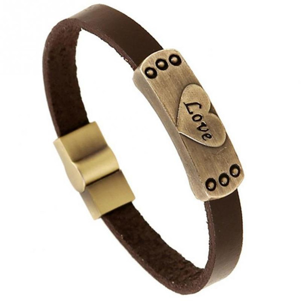 Vintage Punk cuero de vaca amor grabado pulsera brazaletes de cuero genuino Rock Hip Hop hombres mujeres amantes ocasionales brazalete pulsera joyería