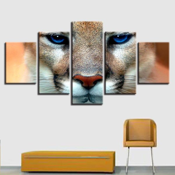 HD Printing Painting 5 Pieces Animal Tiger Blue Eyes Poster Modular Canvas Pictures Wall Art Framework Living Room Home Decor