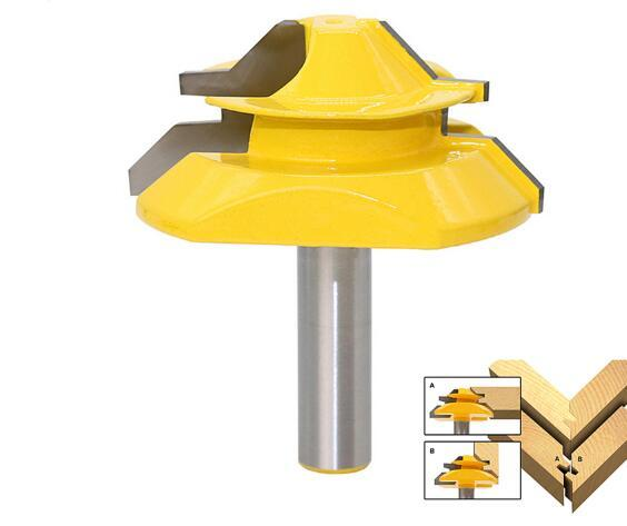 """8mm Shank Lock Miter Router Bit Milling Cutters 45 Degree Carbide Wood Cutter 3/4"""" Stock for Carpenter Woodworking Tools"""