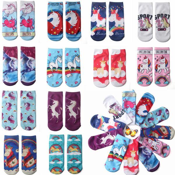 Unicorn Christmas socks Emoji 3D Kids Hip Hop Odd Socks Skateboard Sports Cotton Sock Novel Pattern Print sock Christmas Decorations GGA801