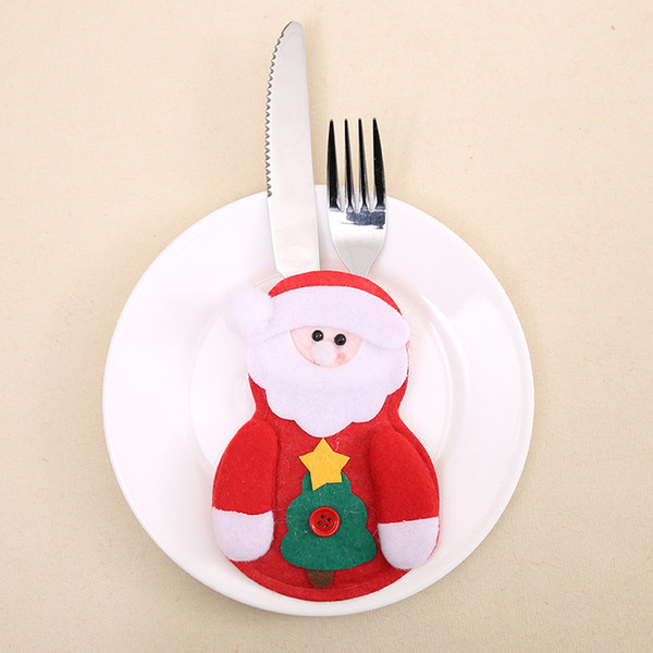 Christmas Santa Claus Elk Snowman Knife Fork Cover Non-woven Fabric Tableware Sleeve Christmas Table Decorations (Without Knife or Fork)
