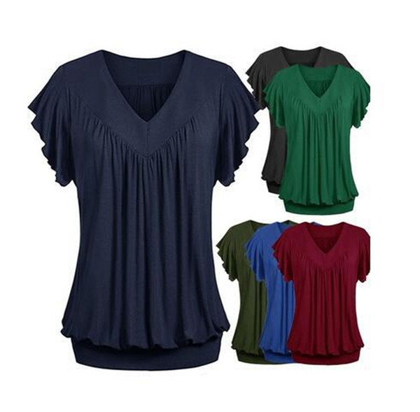women's fashion summer solid color loose V-neck short sleeve shirt tops plus size S-5XL free shipping