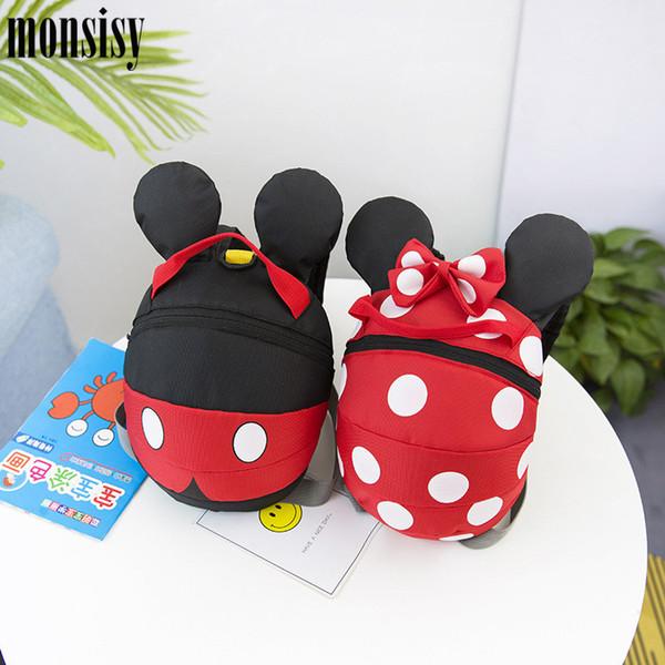 Monsisy Sacchetto di scuola per bambini Anti-perso Zaino per bambini Kid Bookbag Asilo regalo Mouse Dot Bow Baby School Bag Zaino