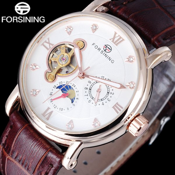 FORSINING homens lua fase relógio automático homens mecânicos relógios de vestido masculino rhinestones Roma 24 H rosa relógio de ouro