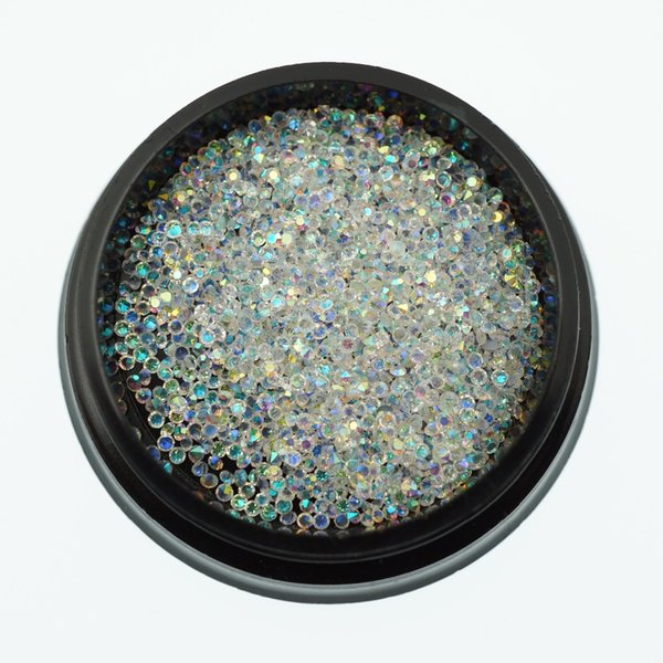 1 Pot Transparent AB Micro Glass Crystal Rhinestones Non Hotfix 3D Acrylic Nail Art Manicure DIY Design Decorations Accessory