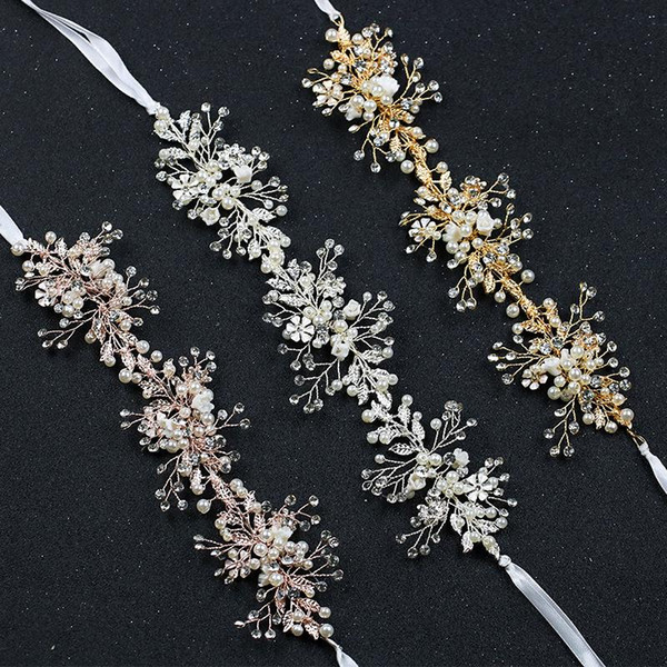 Bride accessories leaf hair bands handmade headpieces European and American Brides ornaments Crystal Flower Headwear Headbands Wholesale