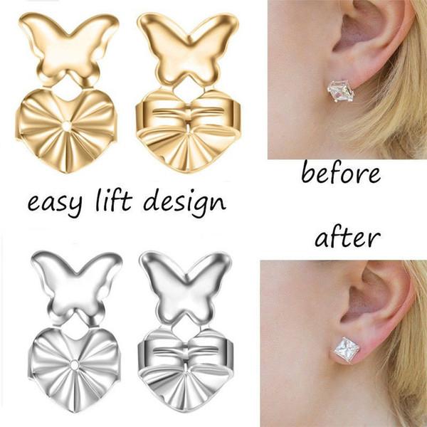 Aid Earring Backs Support Earring Lifts Fits Earrings For Women Silver /Gold Color Heart Butterfly Earrings Jewelry Accessori