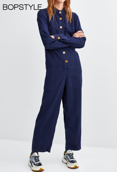 2018 New Ladies/Female Blue Contrasting Buttoned Jumpsuit With Raised Round Neckline & Long Sleeves - Work Wear Jumpsuits Women
