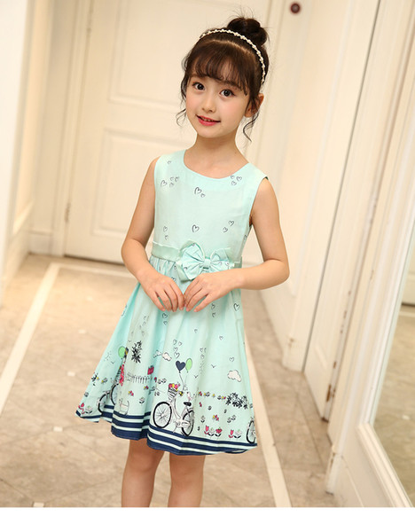 Hot Sale Girls Dresses Summer Clothes Cute Cartoon Print Cotton Sleeveless Children Infant Dress For Girls 3 Color