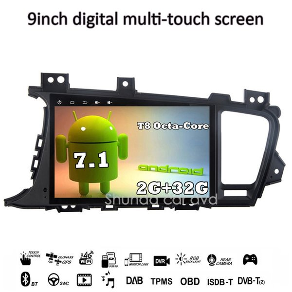 SHUNDA 9 inch HD Android 7.1 T8 2G 32G Car DVD For KIA K5 Optima GPS Navigation Radio RDS Bluetooth Call/Music 4G WIFI Free Map SWC