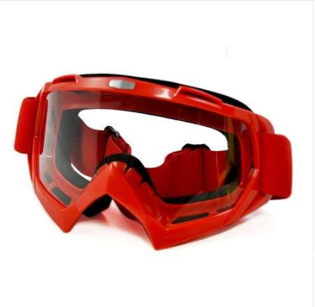 BJMOTO Red Adult Motorcycle Goggles Motocross Bike Cross Country Flexible Sport Racing Goggle Clear Lens Motor Glasses