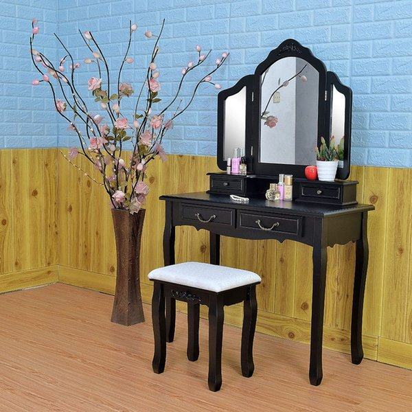 2019 Wooden Dressing Table Makeup Desk With Stool Tri Fold Mirror 5 Drawers  Black Bedroom Furniture Dropshipping From Tribull, $161.71 | DHgate.Com