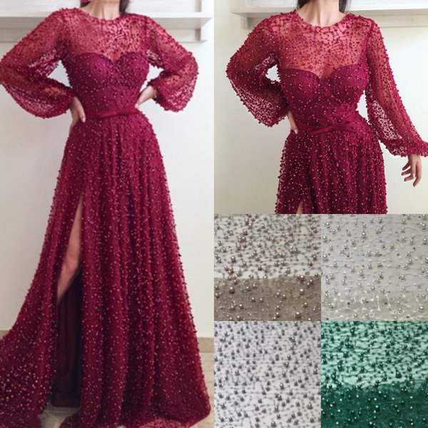 2019 Luxury Burgundy Pearls Saudi Arabia Prom Dresses A Line Illusion Beaded Evening Gowns Sexy Side High Slit Formal Event Wear Long Sleeve