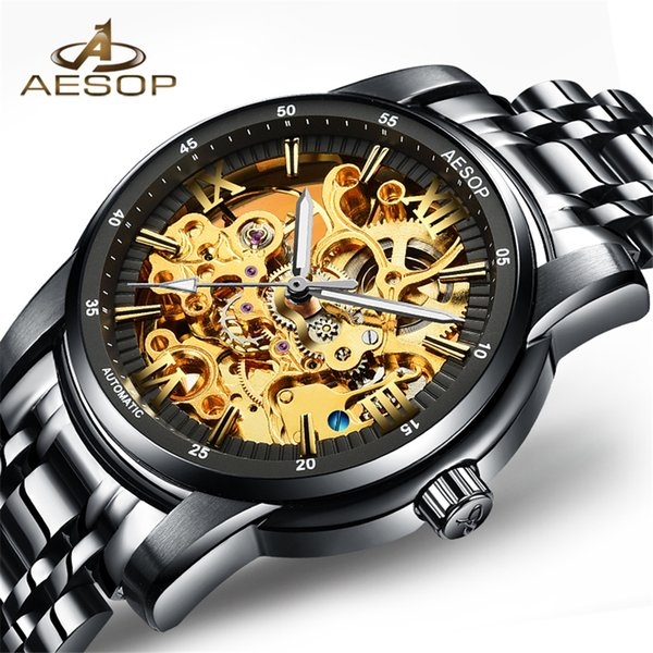 NEW  Sapphire Automatic Skeleton Mens Watches Top  Fashion Black Relojes Hombre Clock Mechanical Watches Male Clock