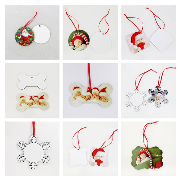 best selling sublimation mdf christmas ornaments decorations round square snow shape decorations hot transfer printing blank xmas consumable new styles