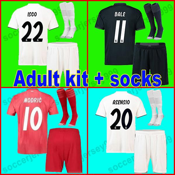 finest selection db88c 85532 Real madrid jerseys Adult kit 2018 2019 soccer jersey BALE MODRIC ASENSIO  football shirt uniforms SERGIO RAMOS 18 19 Isco camiseta de futbol