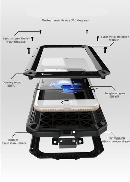 Luxury Doom armor Dirt Shock Waterproof Metal Aluminum phone bags case For iphone 7 5S 5 SE 4S 5C 6 6S Plus cover+Tempered glass