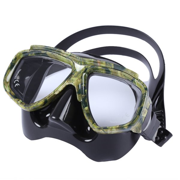 Diving Spearfishing Mask Scuba Gear with Tempered Glass Lens Diving Swimming Mask Underwater Anti-fog Scuba
