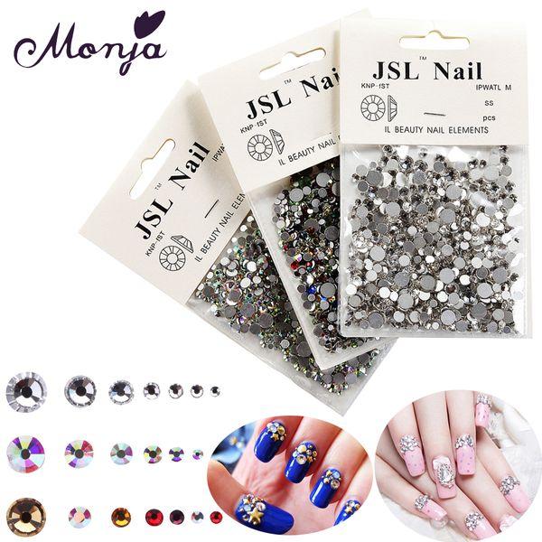 diamond gem Monja 1200Pcs Multisize Nail Art Diamond Gem Style Shiny Rhinestone Beads Gel Polish Tips 3D Glitter Sparkly Jewelry Accessory