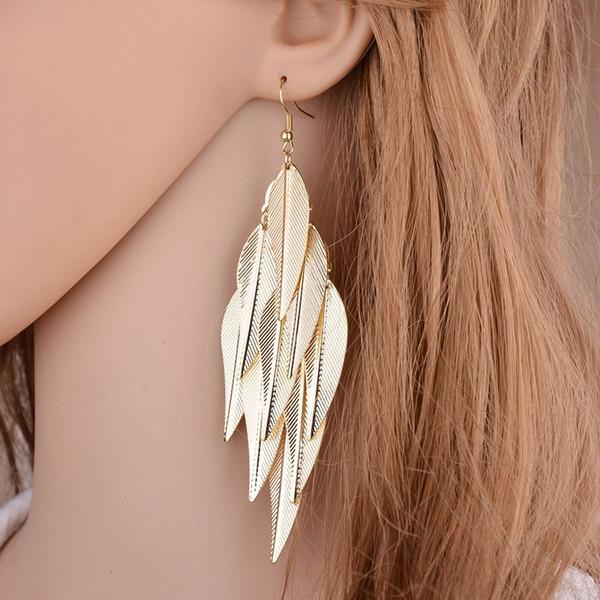 tradecompany8 / Fashion Jewelry Women Leaves Drop Earrings Gold&silver Hollow leaf metal Dangle & Chandelier Earrings For ladies