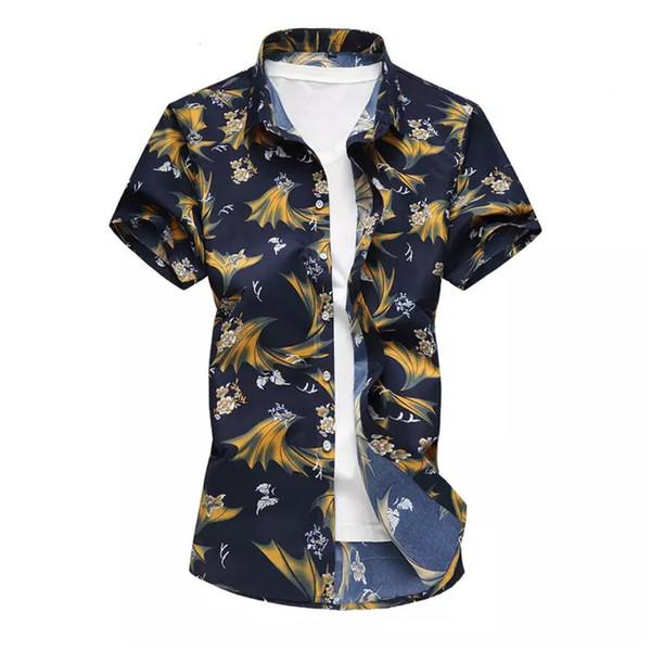 Mens hawaiian gömlek yeni varış erkek rahat camisa masculina baskılı plaj gömlek kısa kollu marka clothing 7xl
