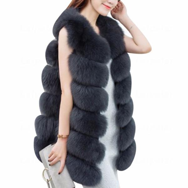 Laipelar 2018 Winter Faux Fur Vest Luxury Sleeveless Fur Coat Vest Fake Jackets Ladies Long Femme Plus Size 3XL