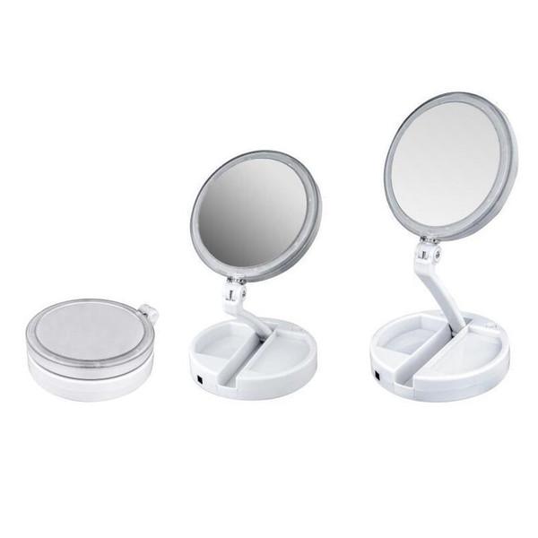 2019 Nouveau My Fold Away LED Miroir De Maquillage Double Face Rotation Pliant USB Miroir Éclairé De Miroir Écran Tactile Portable Lampe de table