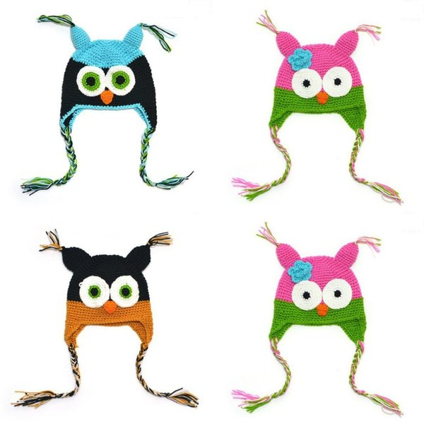 Creative Owl Cap Children Winter Keep Warm Hat Cute Hand Knitted Caps Multi Color 7 1bh C R