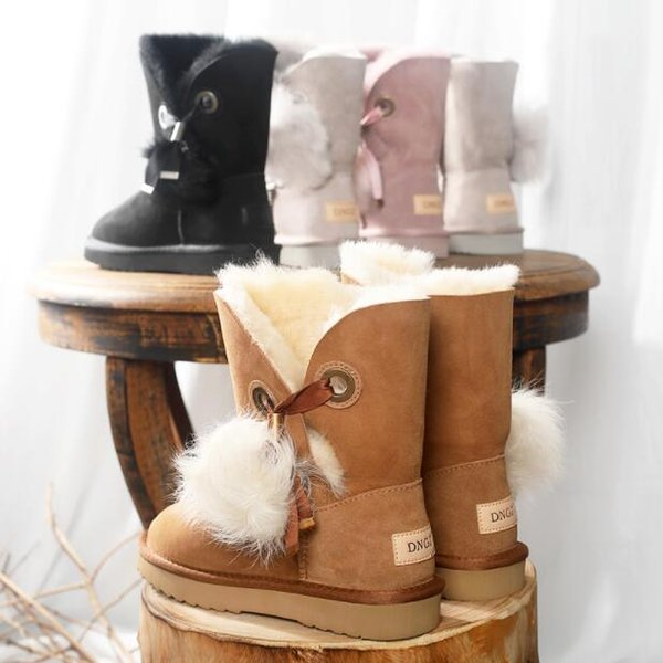 High Quality Women Sneakers Sport Shoes Walking Shoes Snow Boots Sheep Fur 2018 Winter New Wild Short Boots Warm Tassel W295