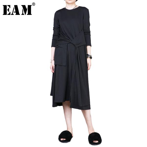 [EAM] 2018 spring round neck fashion black solid long sleeve waist bandage loose women t-shirt casual slim ladies RA01501S